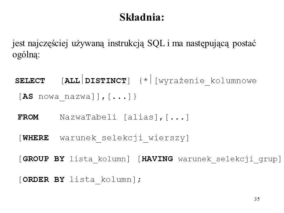 Składnia: jest najczęściej używaną instrukcją SQL i ma następującą postać ogólną: SELECT [ALLDISTINCT] {*[wyrażenie_kolumnowe.